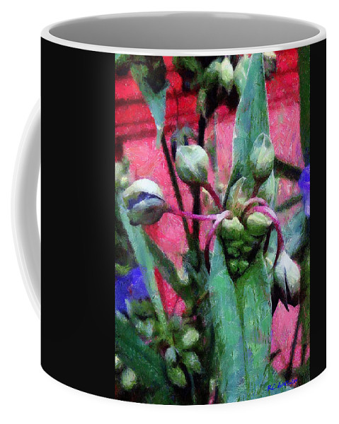 Blossoms Coffee Mug featuring the painting Hungry Mouths by RC DeWinter