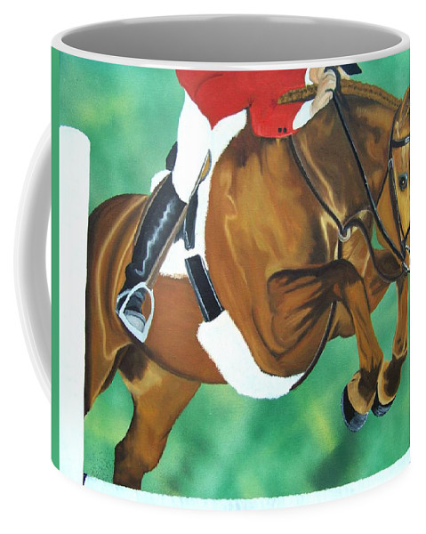 Horse Coffee Mug featuring the painting Hunter Jumper by Debbie LaFrance