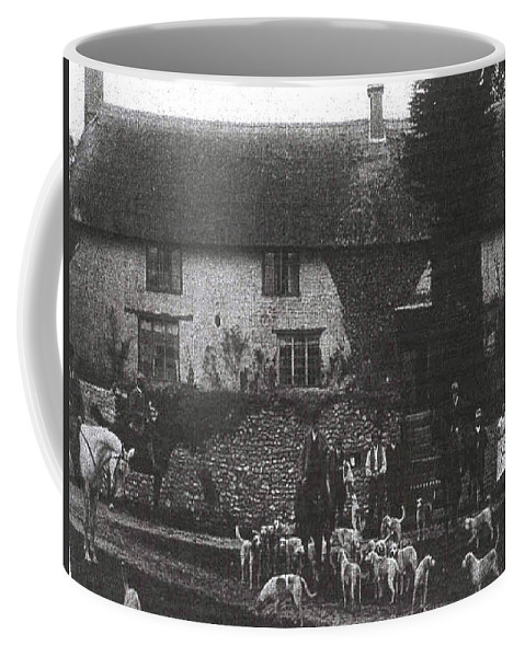 Old Photo Black And White Classic Saskatchewan Pioneers History Hunting Hounds Dogs Coffee Mug featuring the photograph Hunting With Hounds by Andrea Lawrence