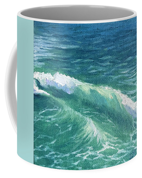 Wave Painting Coffee Mug featuring the painting Huntington Small Waves by Jie Yang