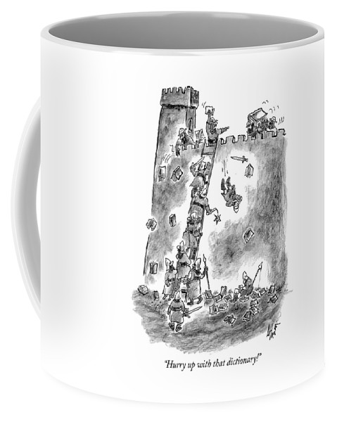 """hurry Up With That Dictionary!"" Coffee Mug featuring the drawing Hurry up with that dictionary by Frank Cotham"