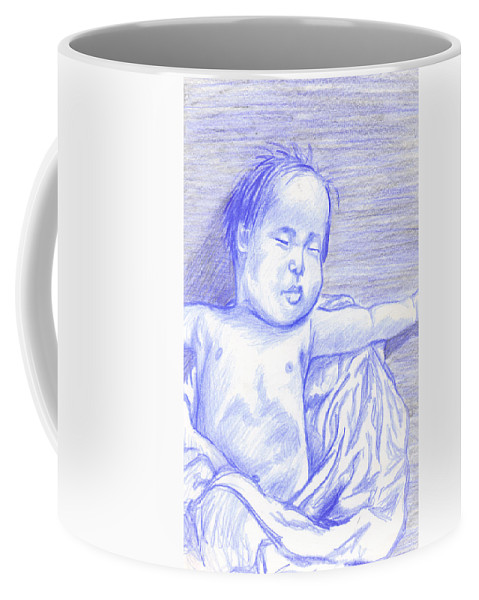 Baby Coffee Mug featuring the drawing Hush Little Baby by Jean Haynes
