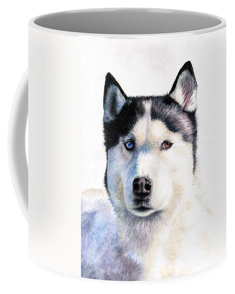 Dog Coffee Mug featuring the painting Husky Blue by Nicole Zeug