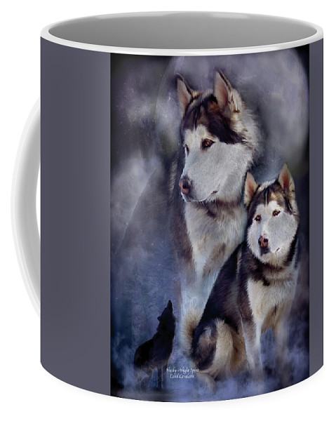 Husky Coffee Mug featuring the mixed media Husky - Night Spirit by Carol Cavalaris