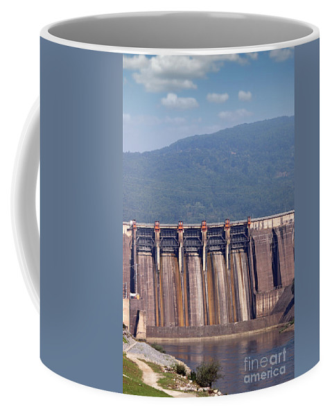 Plant Coffee Mug featuring the photograph Hydroelectric Power Plants On River Industry by Goce Risteski