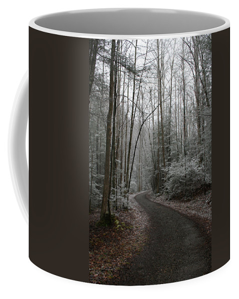 Nature Road Country Woods Forest Tree Trees Snow Winter Peaceful Quite Path White Forest Drive Coffee Mug featuring the photograph I Am The Way by Andrei Shliakhau