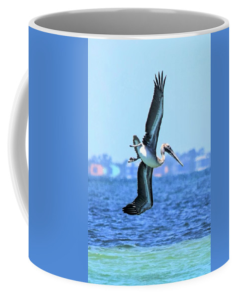 Brown Pelican Coffee Mug featuring the photograph I Believe I Can Fly by Mary Ann Artz