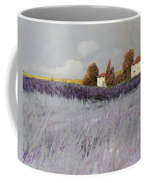 Lavender Coffee Mug featuring the painting I Campi Di Lavanda by Guido Borelli