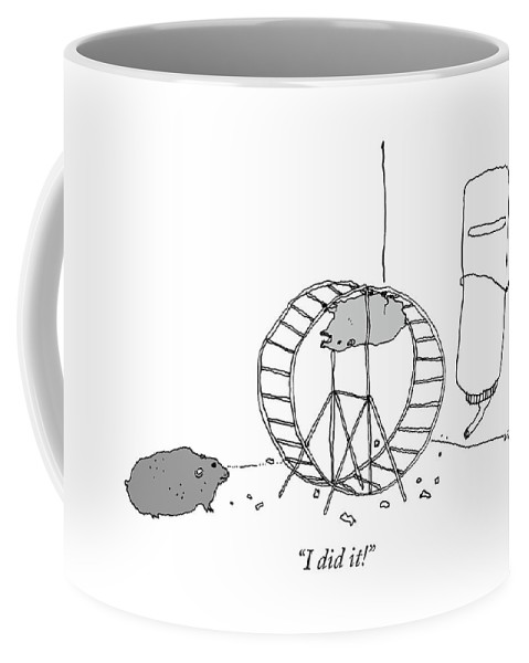 """i Did It!"" Coffee Mug featuring the drawing I Did It by Liana Finck"