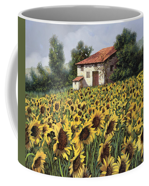 Tuscany Coffee Mug featuring the painting I Girasoli Nel Campo by Guido Borelli