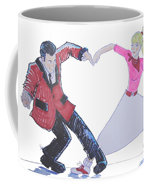 Nostalgia Coffee Mug featuring the drawing I Love Rock 'n' Roll by Mike Jory