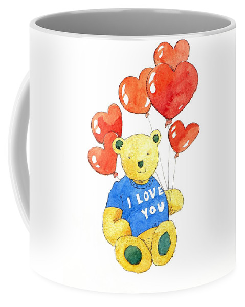 Teddy Coffee Mug featuring the painting I Love You Bear by Jennifer Abbot