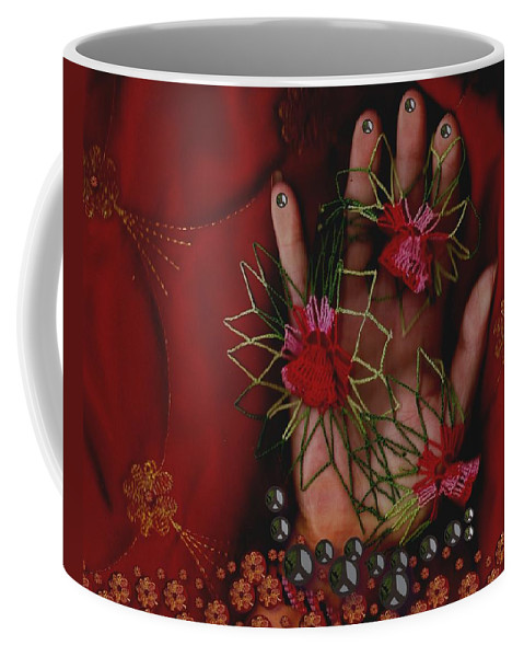 Hand Coffee Mug featuring the mixed media I Reach Love Peace In Life With My Hand by Pepita Selles