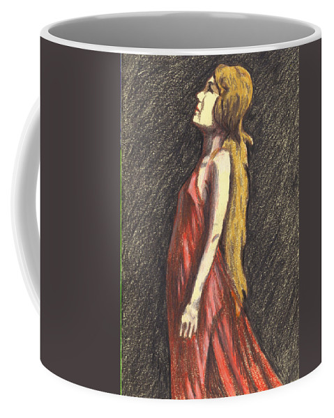 Woman Coffee Mug featuring the drawing I Saw The Light by Jean Haynes