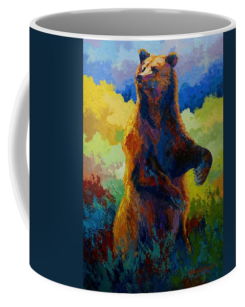 Bear Coffee Mug featuring the painting I Spy - Grizzly Bear by Marion Rose