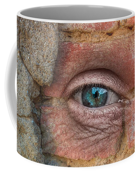 Eye Coffee Mug featuring the mixed media I Spy With My Little Eye by Clive Littin