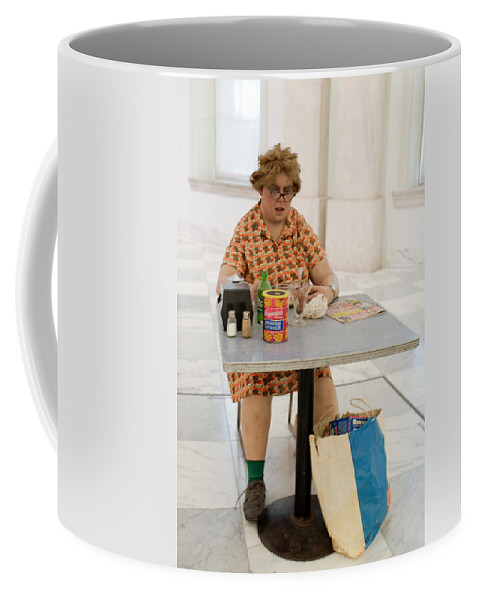 Duane Hanson's Woman Eating Coffee Mug featuring the photograph I Thought She Was Real by Julie Niemela
