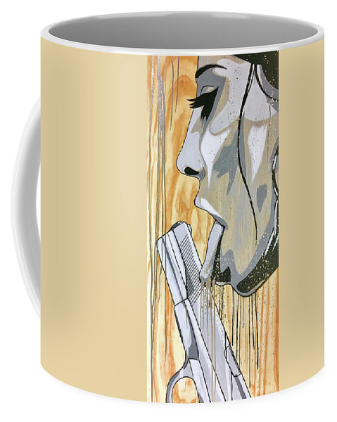 Street Art Coffee Mug featuring the painting I Was A Teenage Hand Model by Bobby Zeik