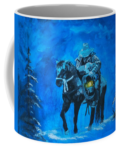Cowboy Painting Coffee Mug featuring the painting I Will Carry You by Leslie Allen