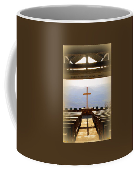 Pretty Place Aka Fred W. Symmes Chapel Black And White Coffee Mug featuring the photograph I Will Lift My Eyes To The Hills Psalm 121 1 Vertical 2 by Lisa Wooten