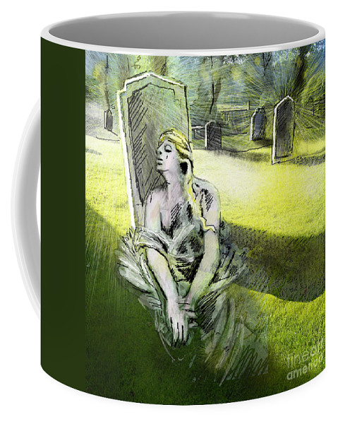 Painting All Saints Day Graves Flowers Coffee Mug featuring the painting I Wish You Were Here by Miki De Goodaboom