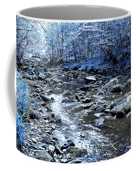 Abstract Coffee Mug featuring the digital art Ice Blue Forest by Svetlana Sewell