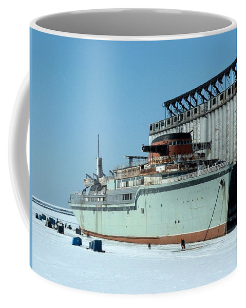 Ice Fishing Coffee Mug featuring the photograph Ice Fishing On Lake Erie by Ely Arsha
