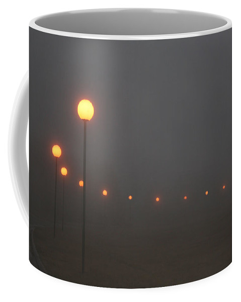Ice Fog Park Lamps Misty Cold Weather Eerie Coffee Mug featuring the photograph Ice Fog And Park Lamps by Andrea Lawrence