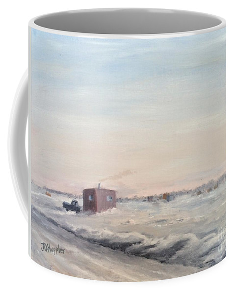 Landscape Coffee Mug featuring the painting Ice Houses On Mille Lacs by J O Huppler