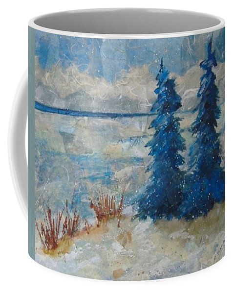 Landscape Coffee Mug featuring the mixed media Ice On Lake Erie by Pat Snook