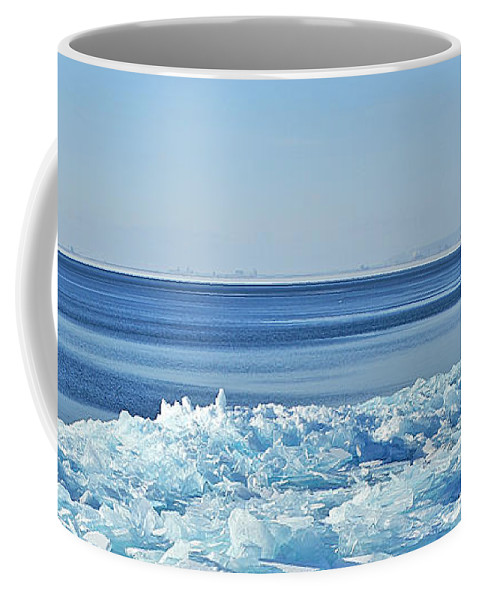 Lake Superior Shore Ice Coffee Mug featuring the photograph Ice On The Rocks by Bill Morgenstern