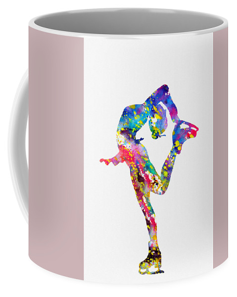 Ice Skater Coffee Mug featuring the digital art Ice Skater-colorful by Erzebet S
