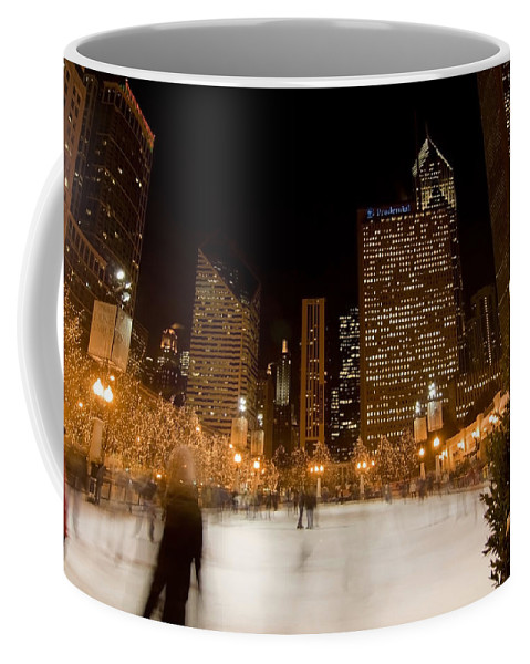 Ice Rink Coffee Mug featuring the photograph Ice Skaters And Chicago Skyline by Sven Brogren