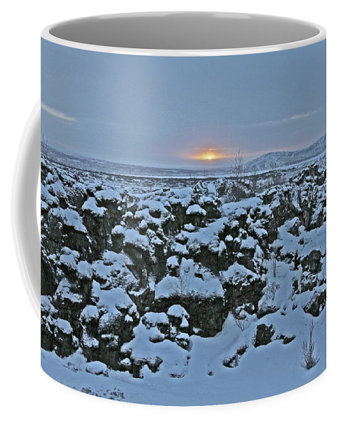 Iceland Lava Field Sunrise Mountains Clouds Iceland 2 2112018 1024jpg Coffee Mug featuring the photograph Iceland Lava Field Sunrise Mountains Clouds Iceland 2 2112018 1024jpg by David Frederick