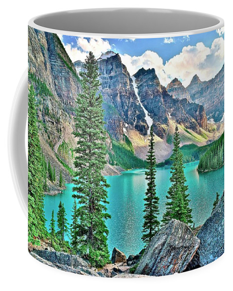 Moraine Coffee Mug featuring the photograph Iconic Banff National Park Attraction by Frozen in Time Fine Art Photography