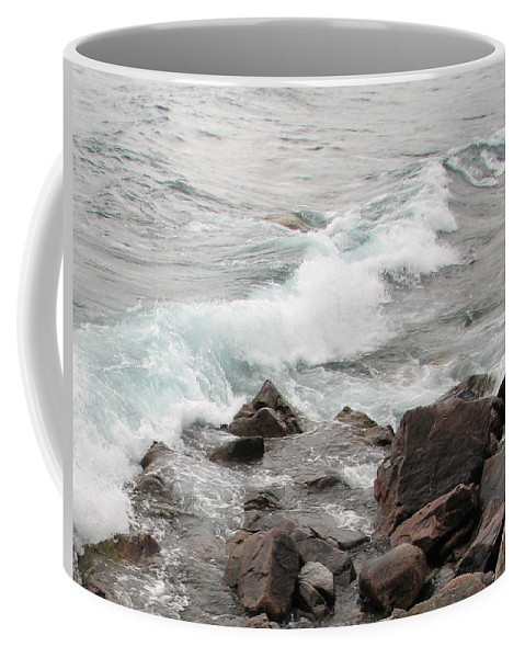 Wave Coffee Mug featuring the photograph Icy Waves by Kelly Mezzapelle