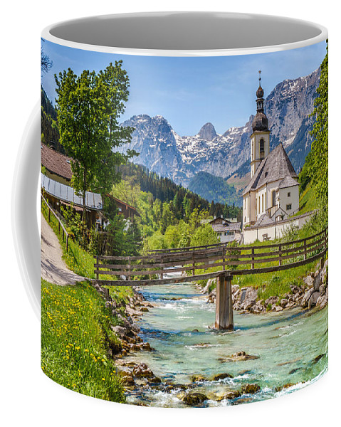 Alpine Coffee Mug featuring the photograph Idyllic Church In The Alps by JR Photography