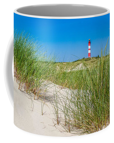 Amrum Coffee Mug featuring the photograph Idyllic Dunes And Lighthouse At North Sea by JR Photography