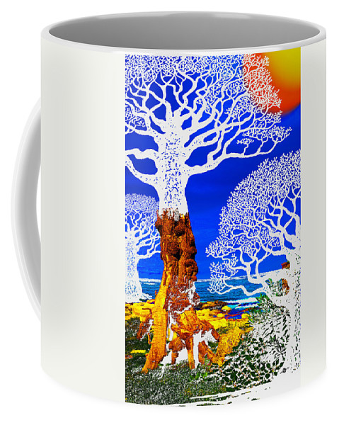 Color Coffee Mug featuring the painting If A Tree Falls In Sicily White by Tony Rubino