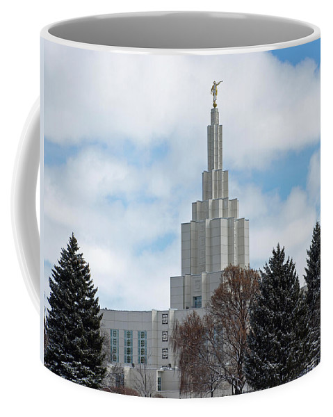 Lds Coffee Mug featuring the photograph If Temple Dusted In Snow by DeeLon Merritt
