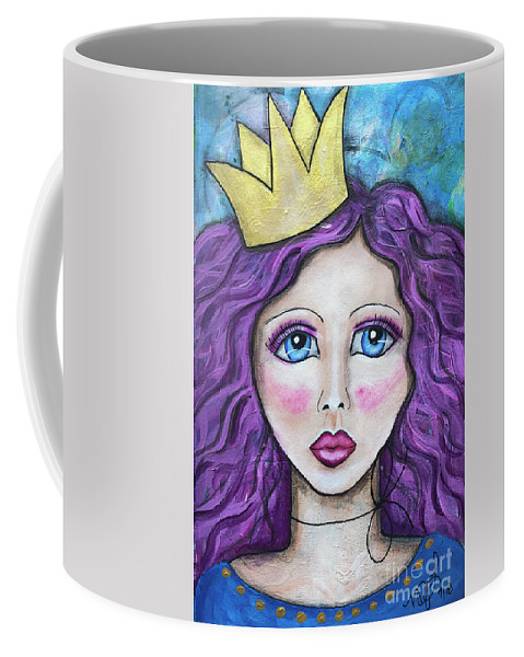 Princess Coffee Mug featuring the painting If The Crown Fits by Nadine Larder