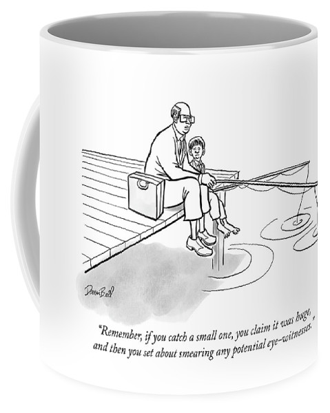 """""""remember Coffee Mug featuring the drawing If You Catch A Small One by Darrin Bell"""