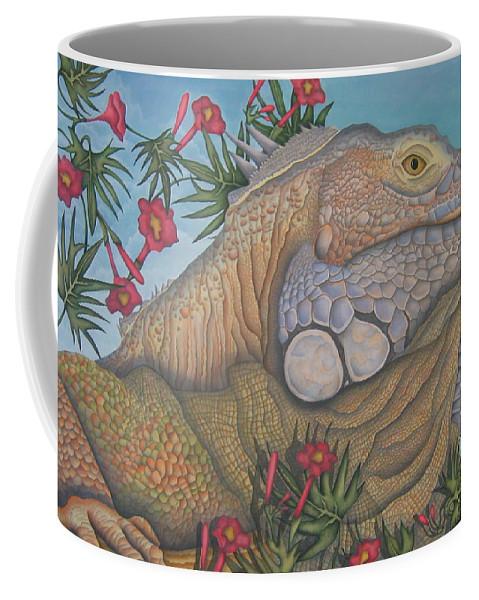Lizard Coffee Mug featuring the painting Iguana Iguana by Jeniffer Stapher-Thomas