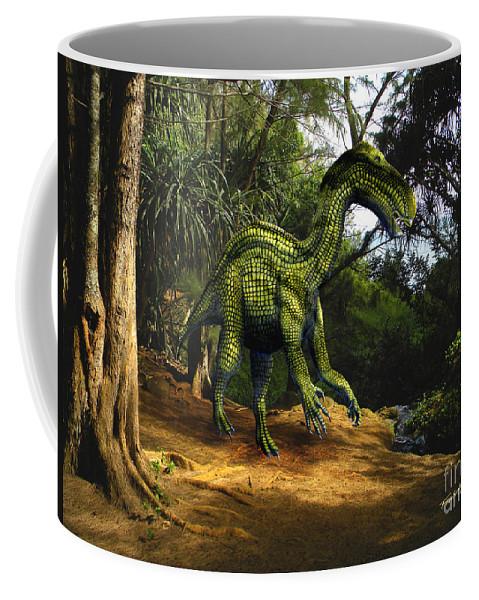 Dinosaur Art Coffee Mug featuring the mixed media Iguanodon In The Jungle by Frank Wilson