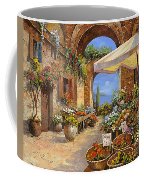 Landscape Coffee Mug featuring the painting Il Mercato Del Lago by Guido Borelli