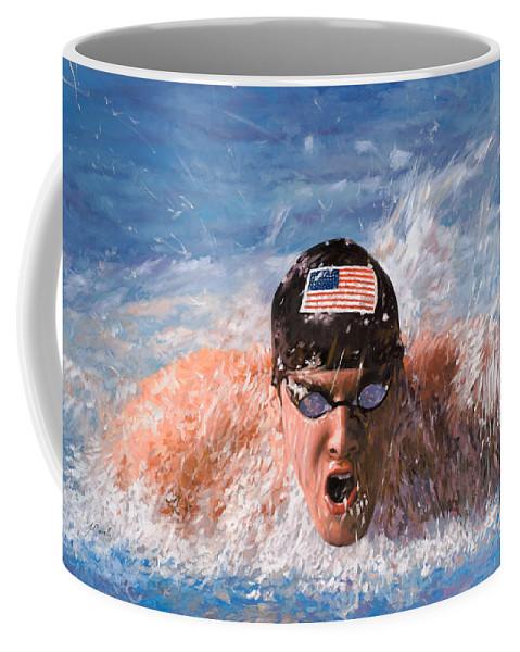 Swim Coffee Mug featuring the painting Il Nuotatore by Guido Borelli