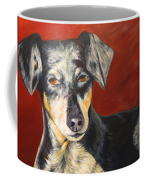 Dog Coffee Mug featuring the painting I'll Be With You Momentarily by Hunter Jay
