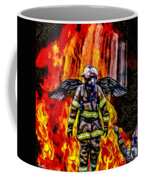 Angel Coffee Mug featuring the digital art I'll Carry Your Load Brother - Oil by Tommy Anderson