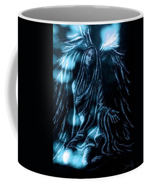 Zoe Oakley Coffee Mug featuring the mixed media Illuminate Your Essence by Zoe Oakley