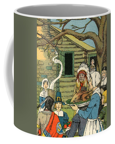 Thanksgiving Coffee Mug featuring the painting Illustration Of The First Thanksgiving by American School
